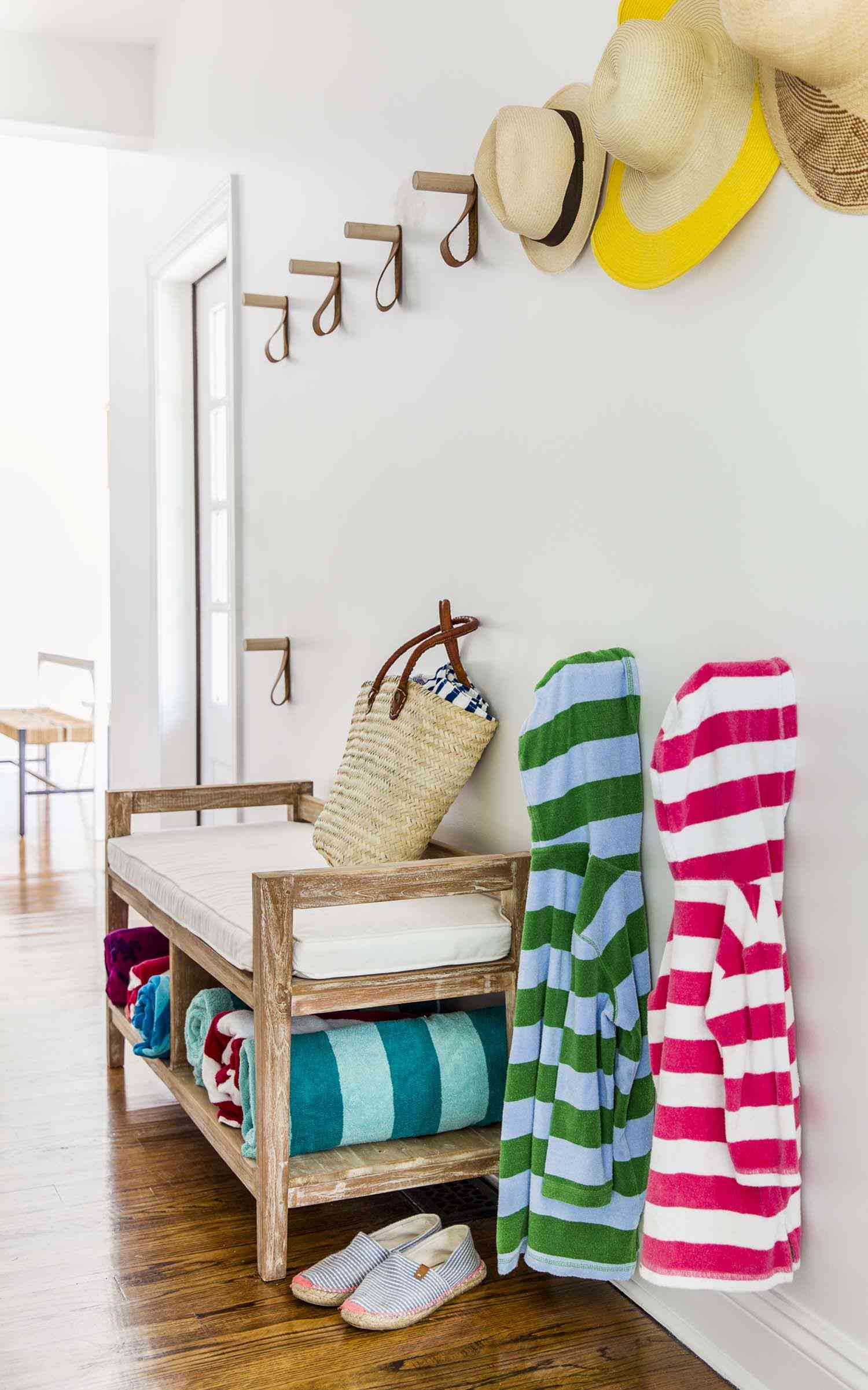 Mudroom bench in beach house
