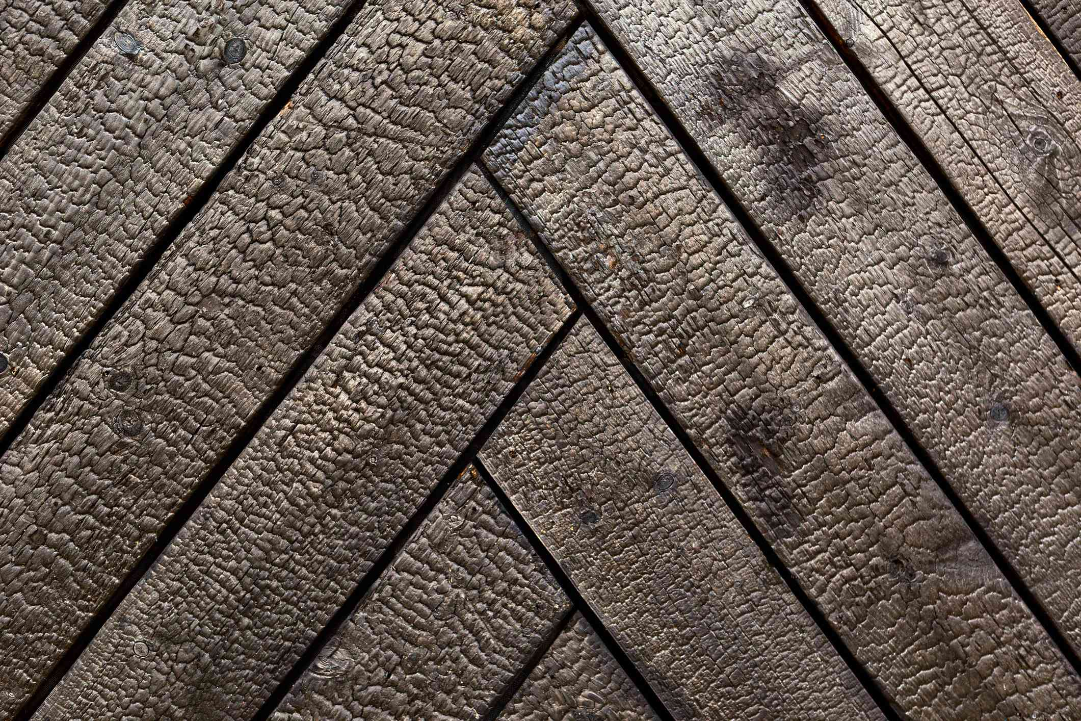 Burned cedar wood close-up