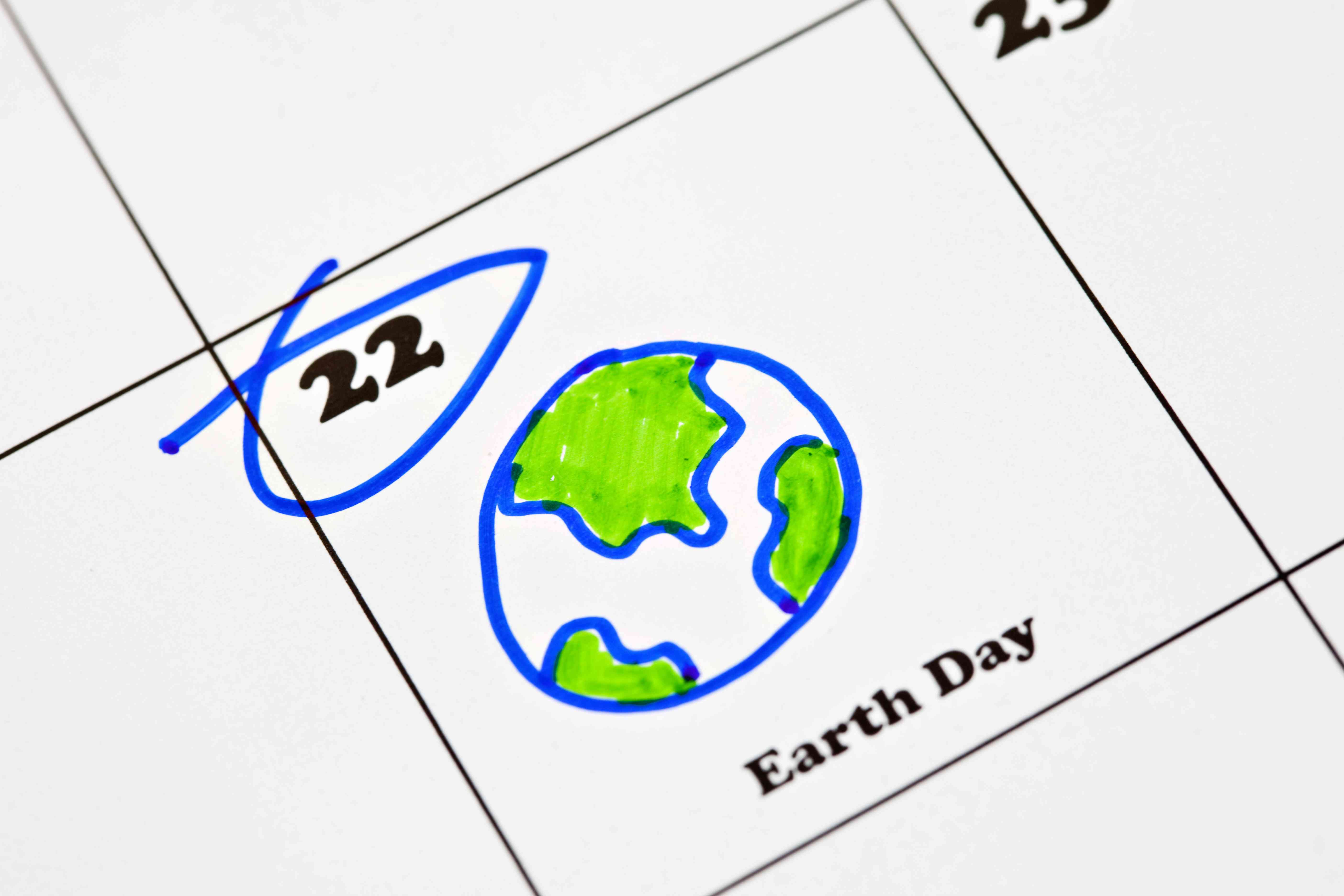 Calendar showing Earth Day