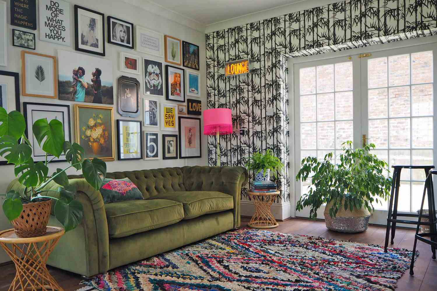 greenery used as focal points in lounge area