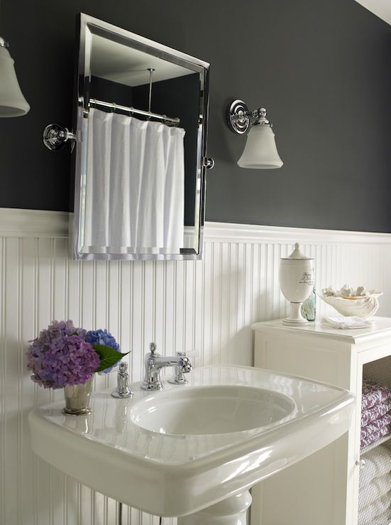 beadboard bathroom with black walls
