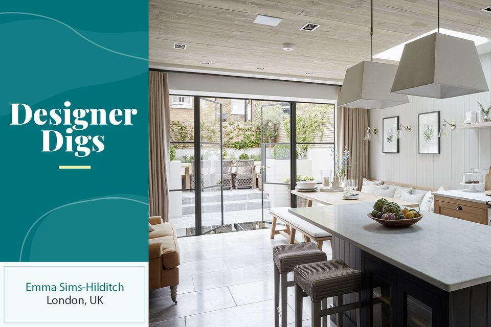 The kitchen leading to the patio in the London home of interior designer Emma Sims-Hilditch