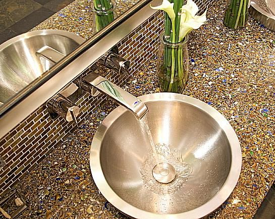 Vetrazzo vanity top from Countertop Production in Berkeley, CA