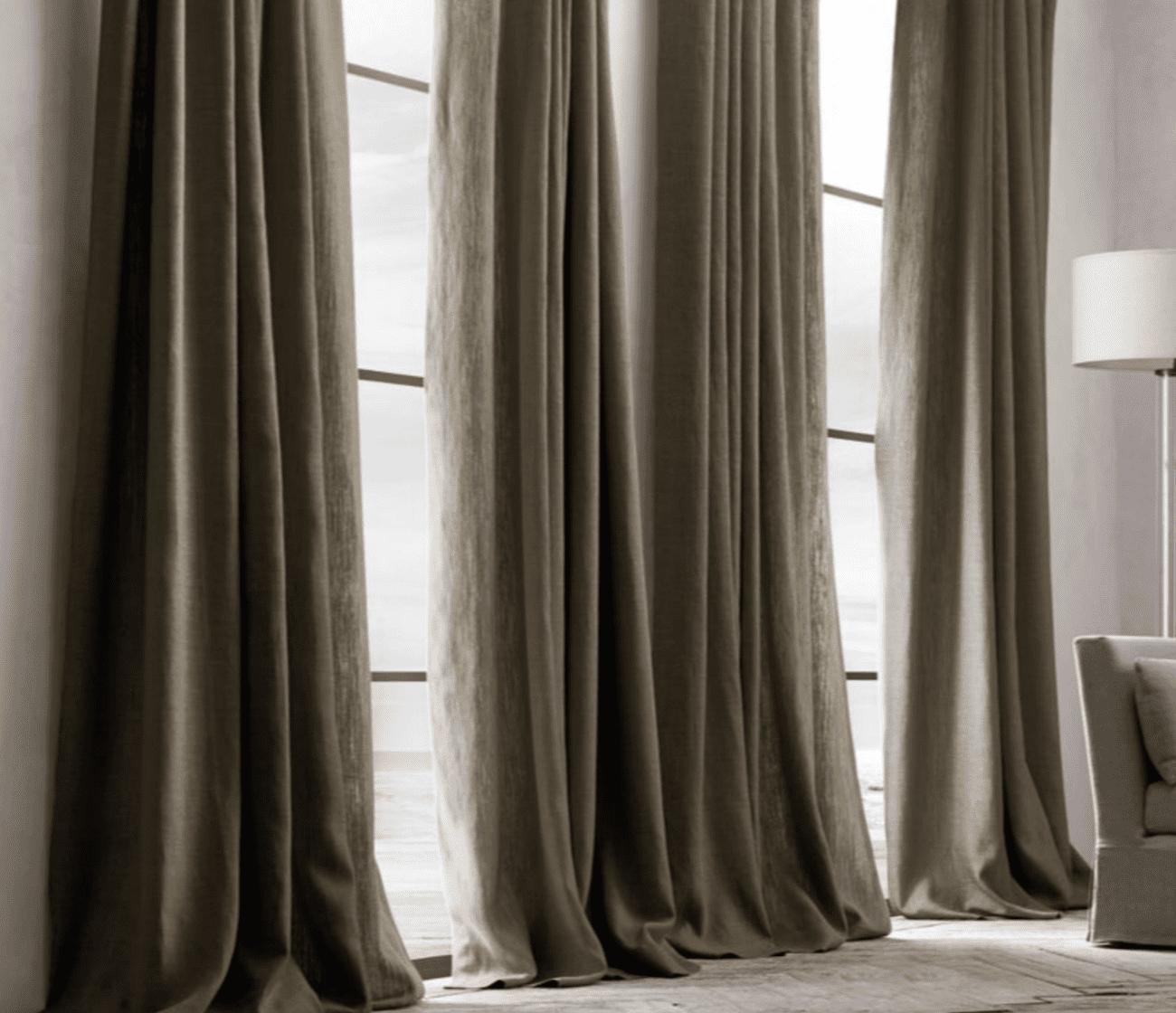 Charcoal linen drapes