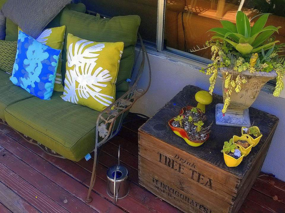 Vintage sofa and crate for patio