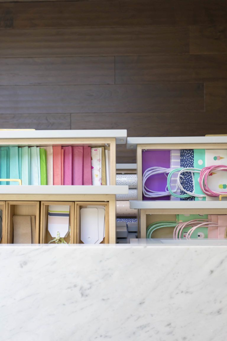 gift wrap in drawer
