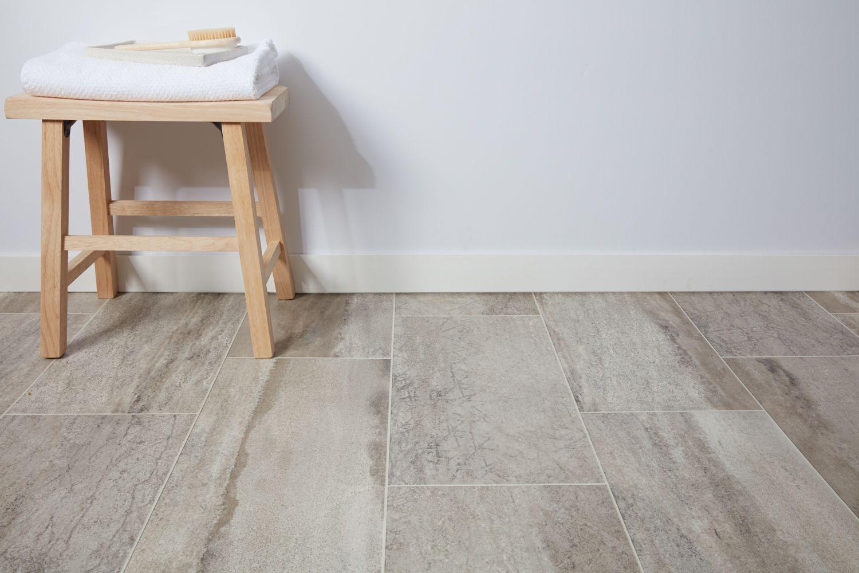 Dry vinyl floor and stool