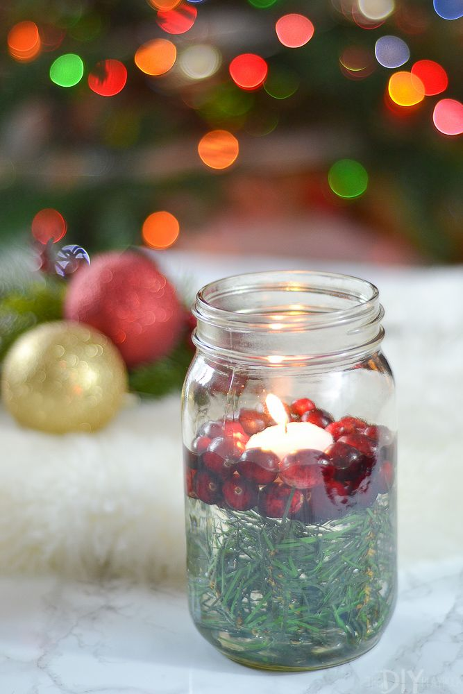 Floating holly candle