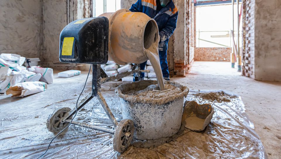 Pouring concrete in building