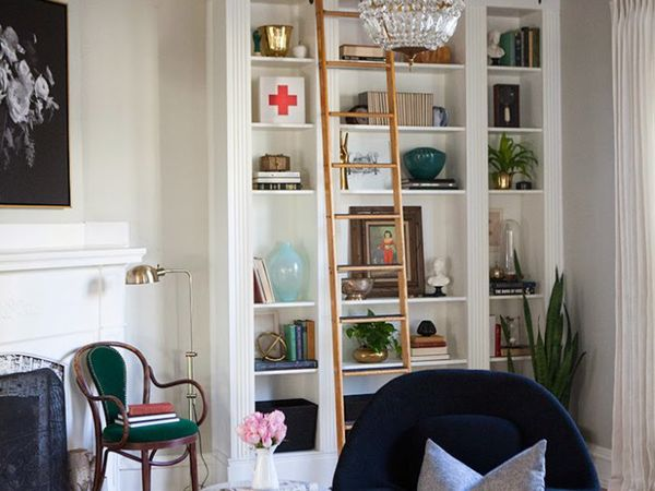 Living room with a bookcase