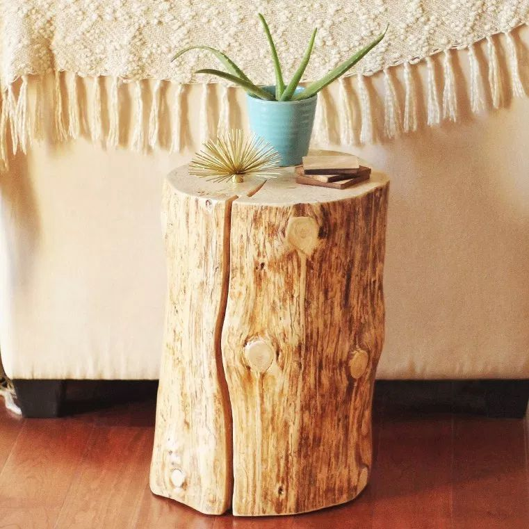 A tree stump table with a potted plant on the top