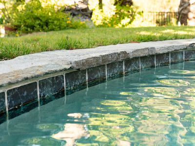 Dark blue tile lining pool with rock-like walkway next to lawn