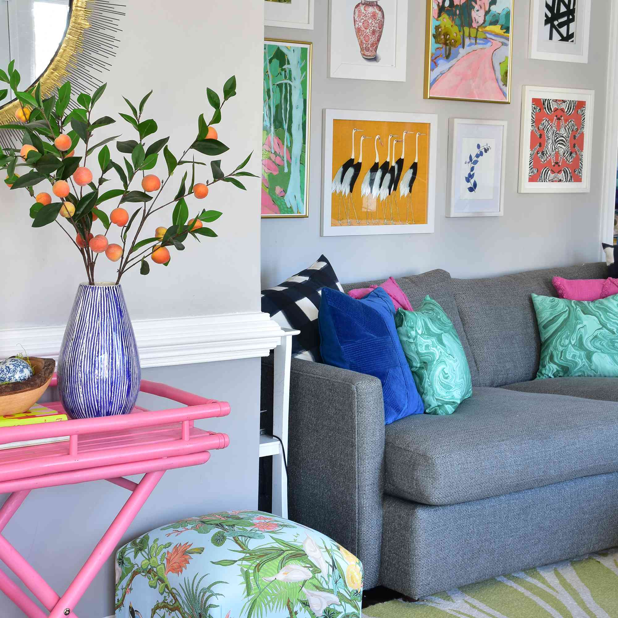 Living room with wall gallery by design blogger Kate Dreyer