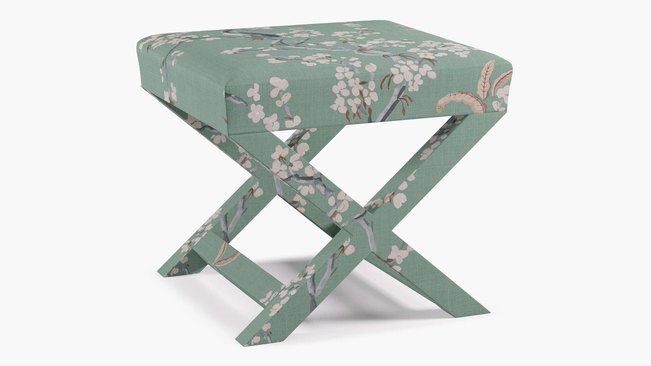 X Bench, with Mint Cherry Blossom fabric