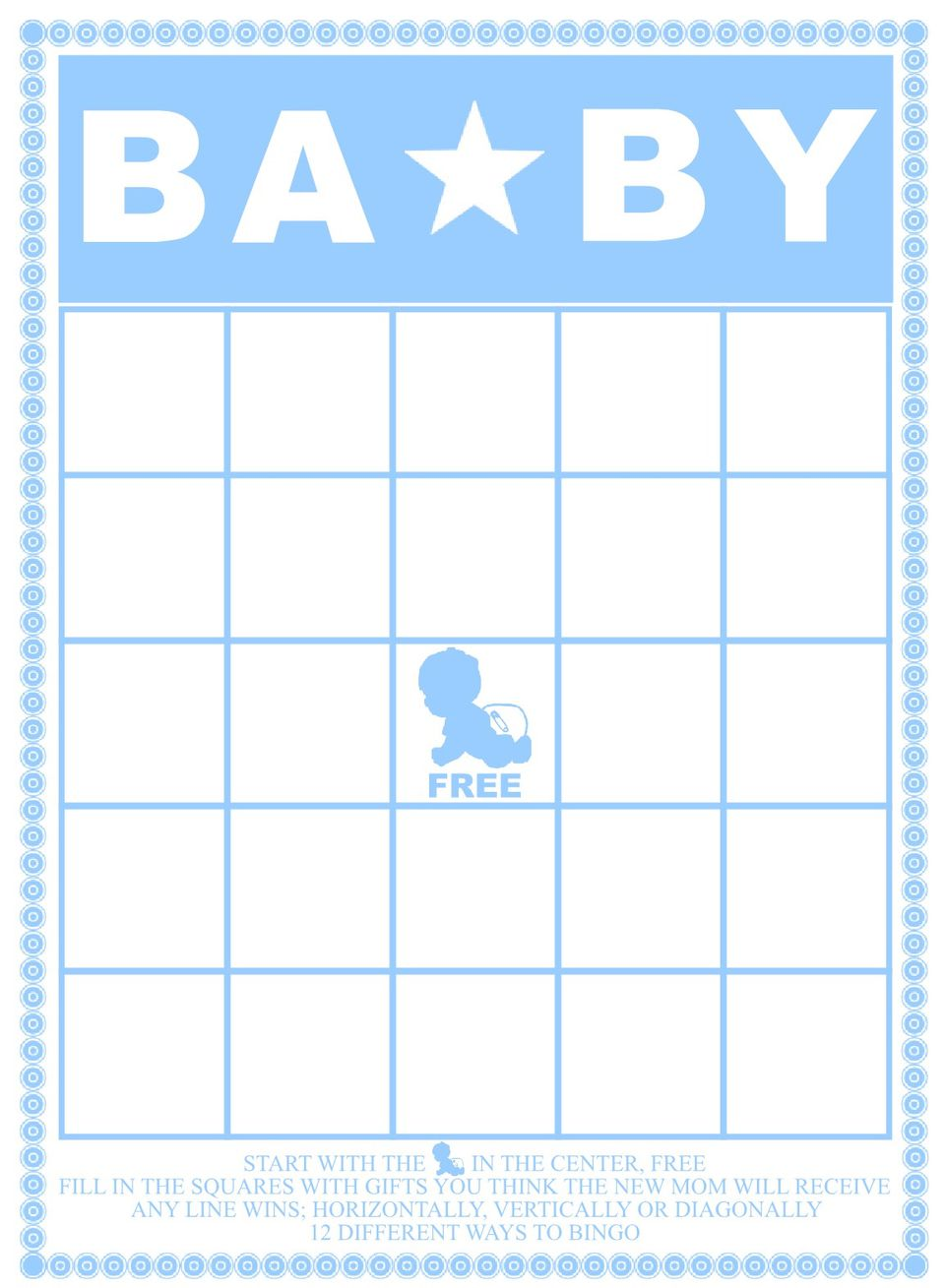 This is a picture of Astounding Baby Bingo Printable
