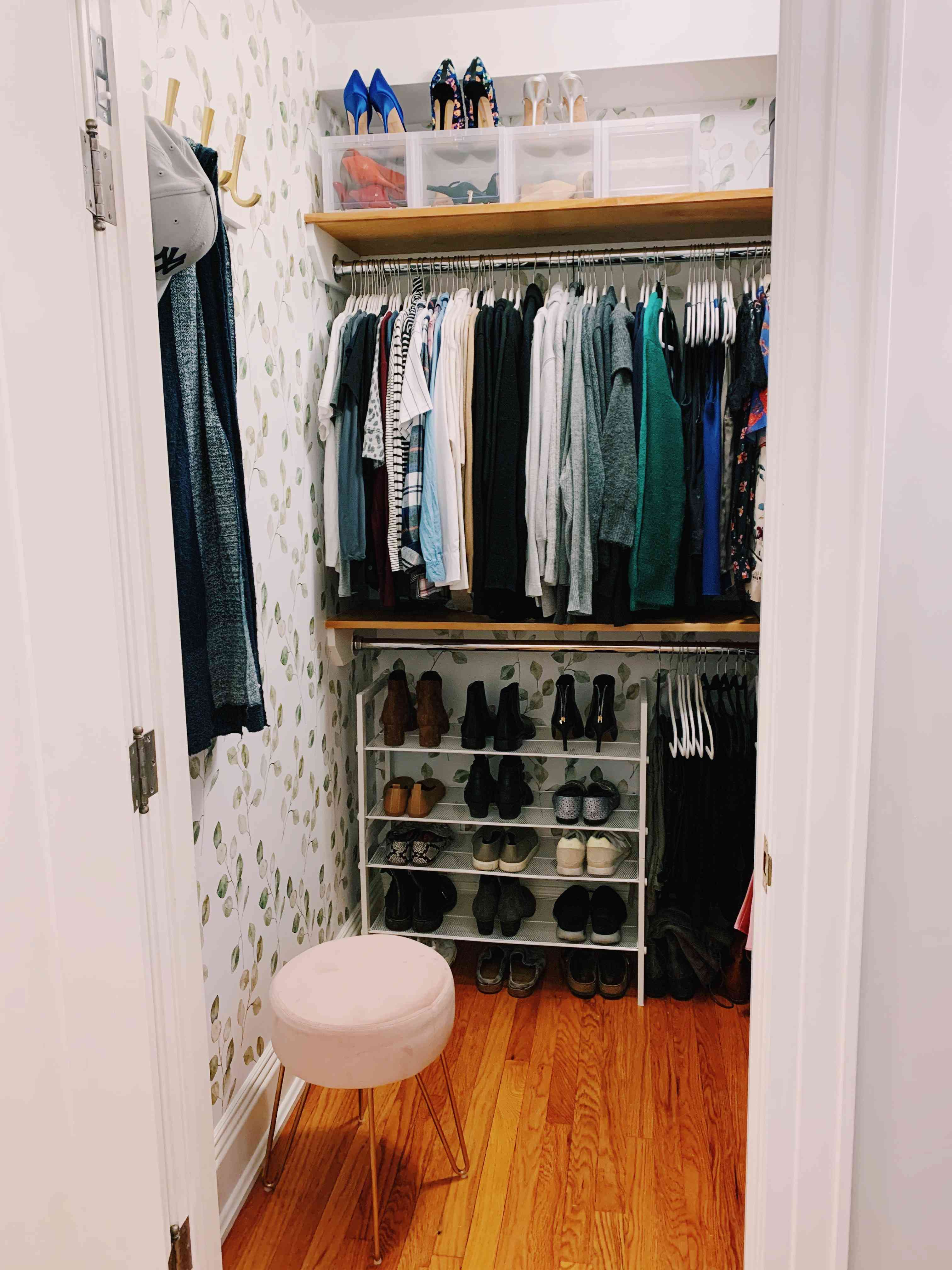 closet with wallpaper