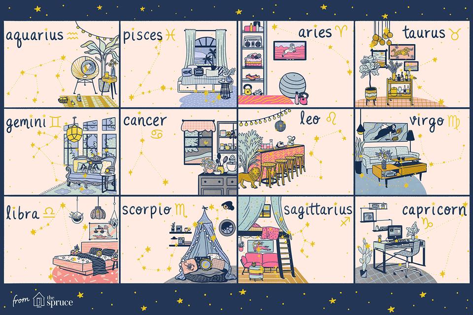 cómo cada signo del zodiaco decora la ilustración de su hogar