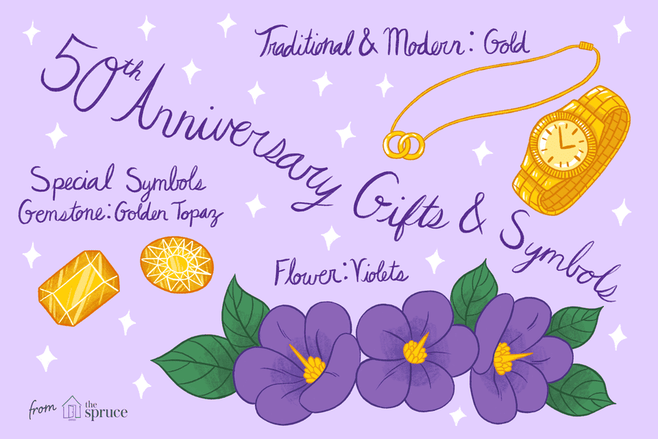 illustration of 50th anniversary gifts and symbols