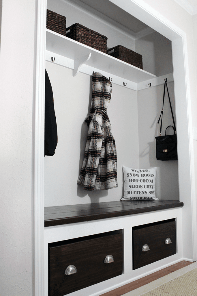 mudroom converted from a closet