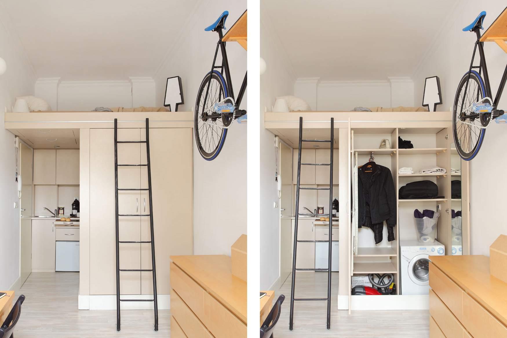 Storage in Super Efficient 140 Square Foot Urban Apartment