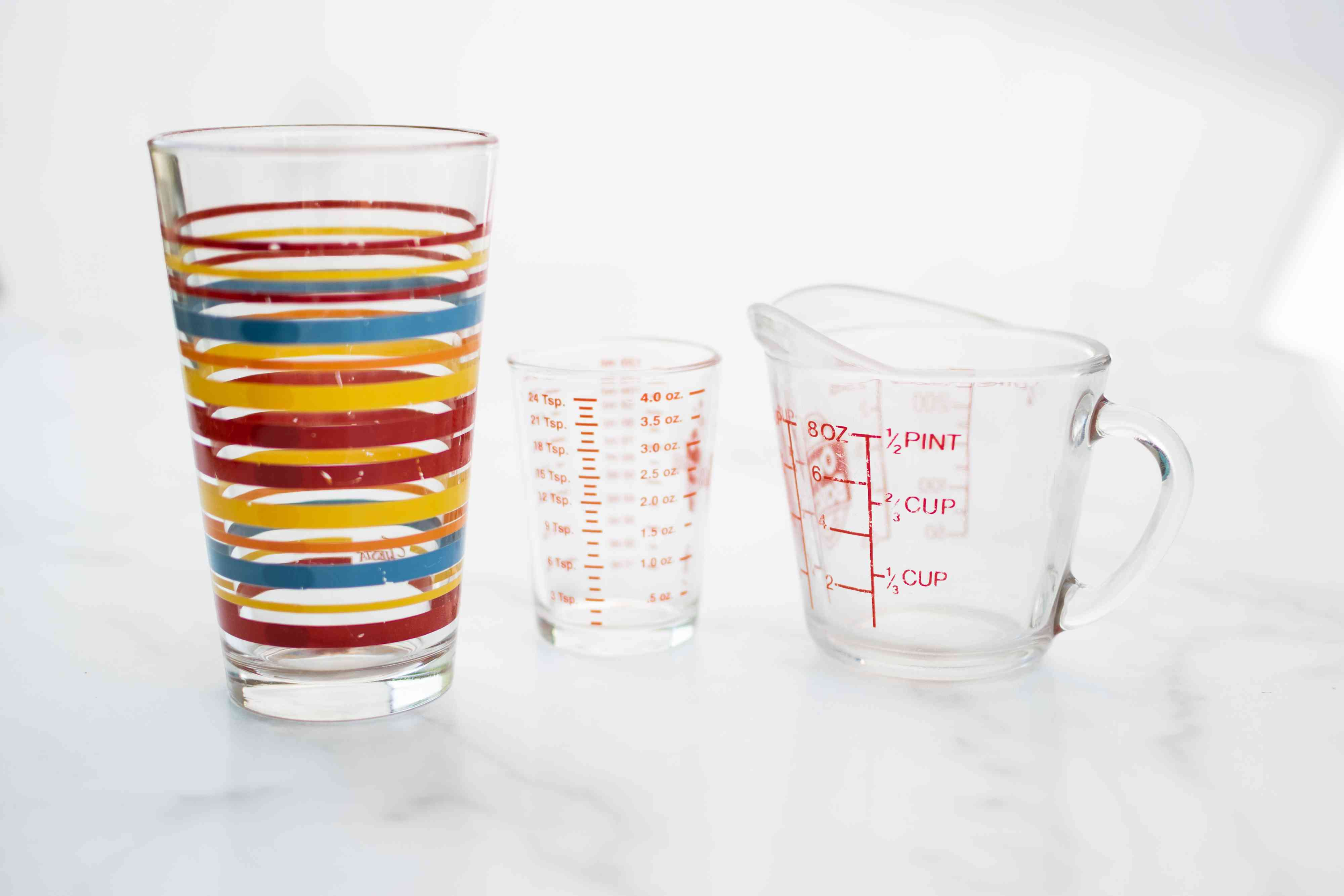 Printed glassware and measuring cups not placed in dishwasher