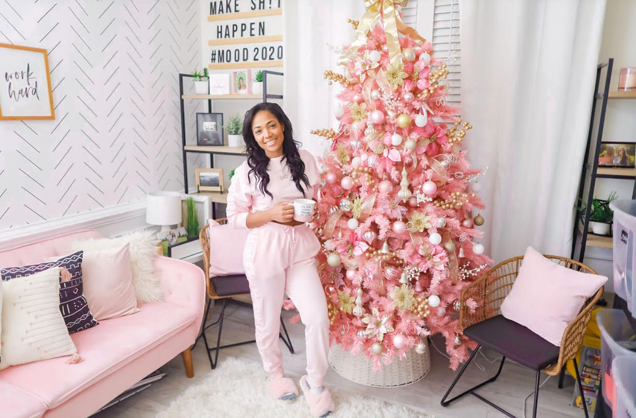 Tiffany Davidson with her pink Christmas tree