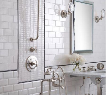 White Subway and Unique Accent Bathroom Tile