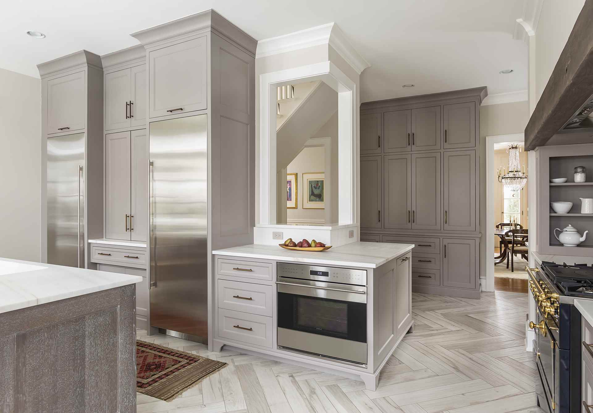light walls and gray kitchen cabinets in kitchen