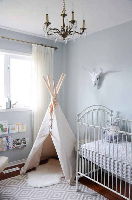 Neutral Grey Nursery With Tribal Inspired Accents