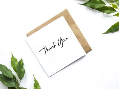 Envelope with text Thank You