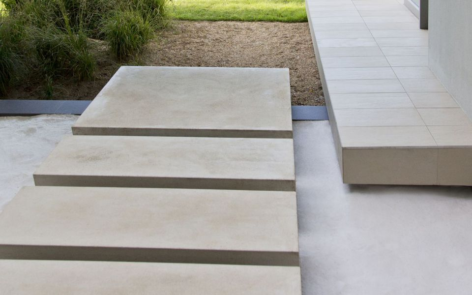 Elevated Modern Concrete Paver Walkway