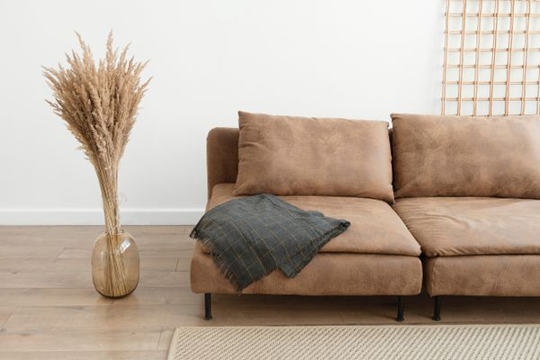 Brown suede couch in living room