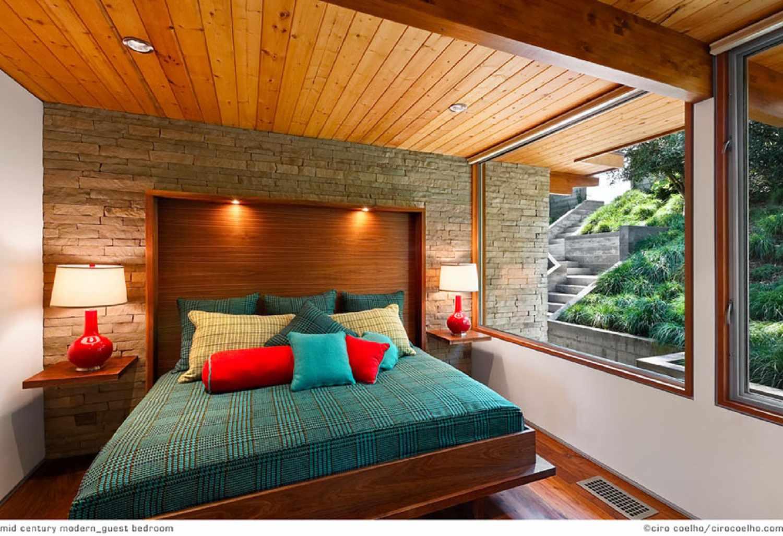 Wood-paneled mid-century modern bedroom
