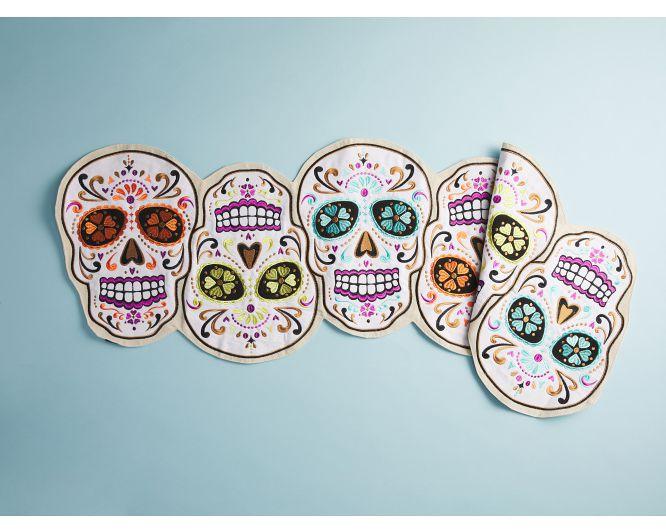 Embroidered Skull Table Runner