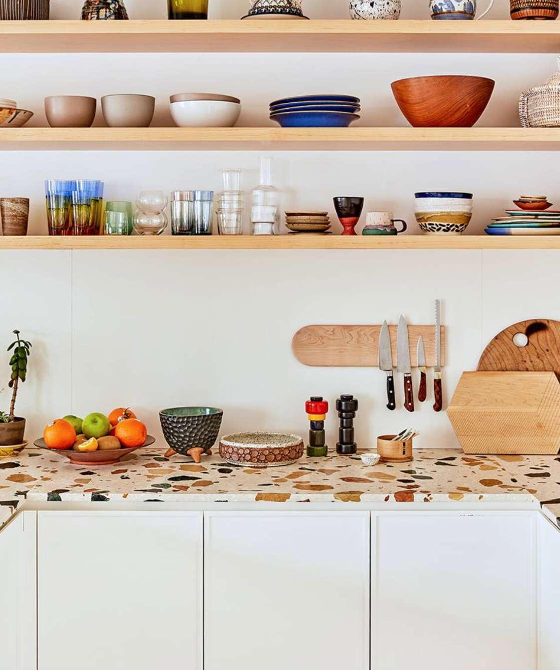 Kitchen with terrazzo tile