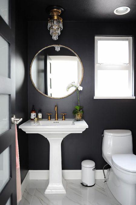 Simple Black Bathroom