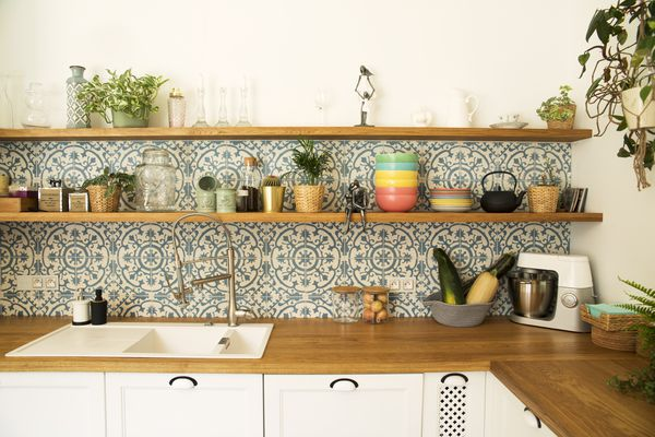 peel and stick tile in a kitchen