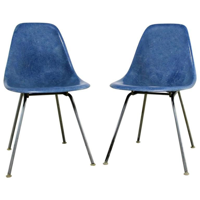 Vintage Pair of Herman Miller Eames Molded Fiberglass DSX Side Chairs