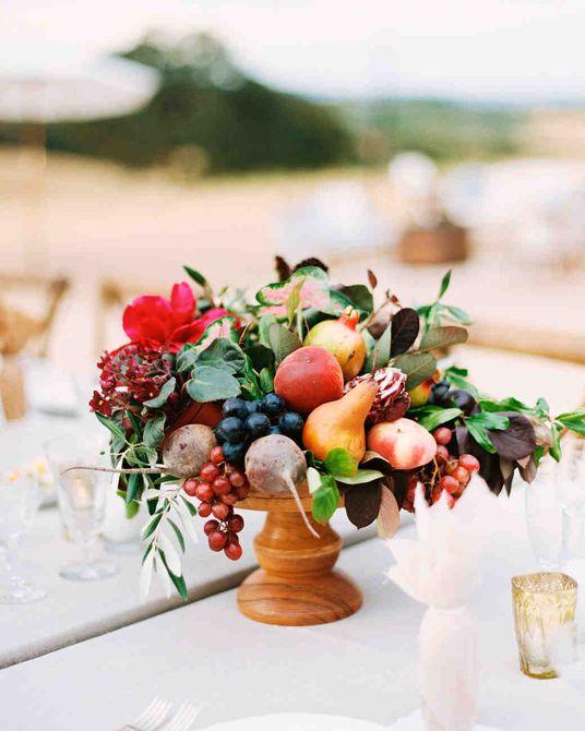 Centro de mesa para bodas de Fall Fruit