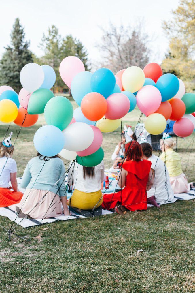 Balloon wall at a picnic