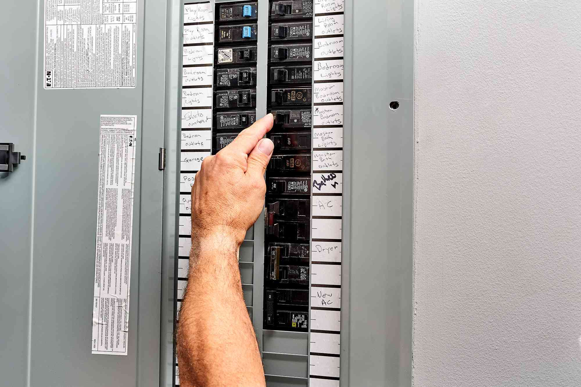 Circuit power being turned off in electric service panel