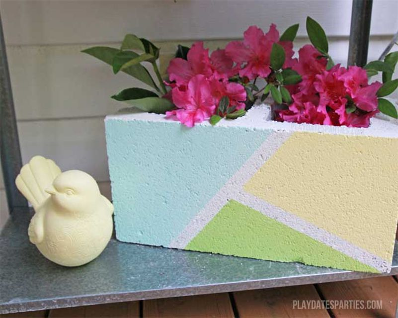 A cinder block with flowers