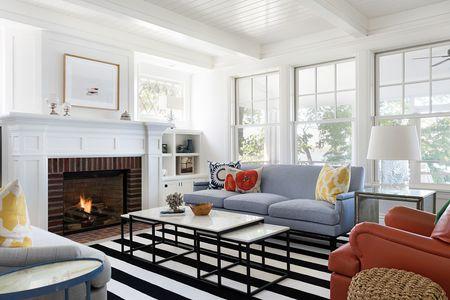 Traditional Brick Fireplace Classic White Mantel