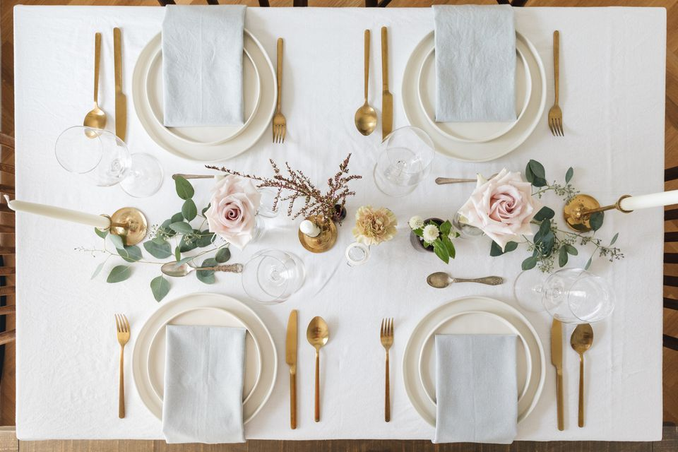 overhead of a formal dinner table
