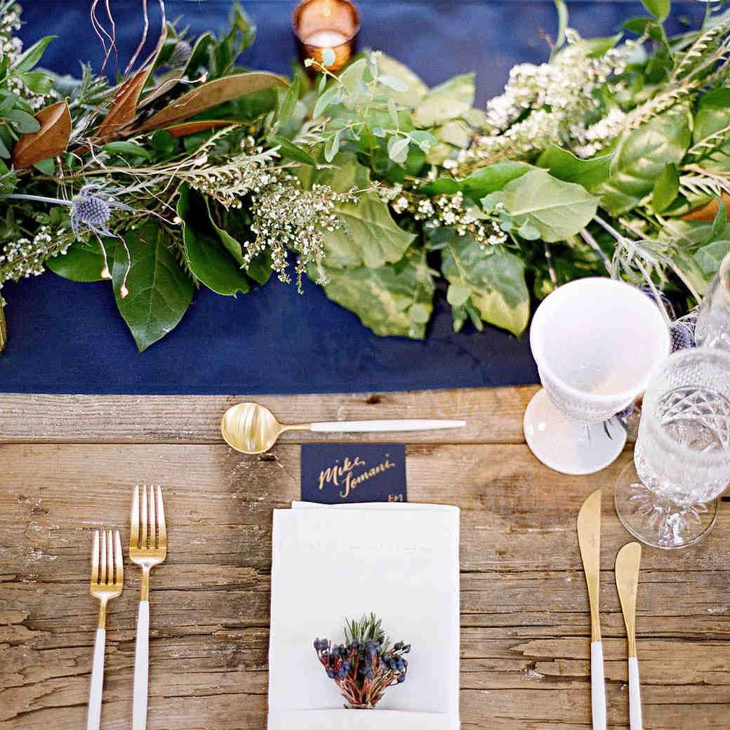 Greenery Garland Winter Wedding Centerpiece
