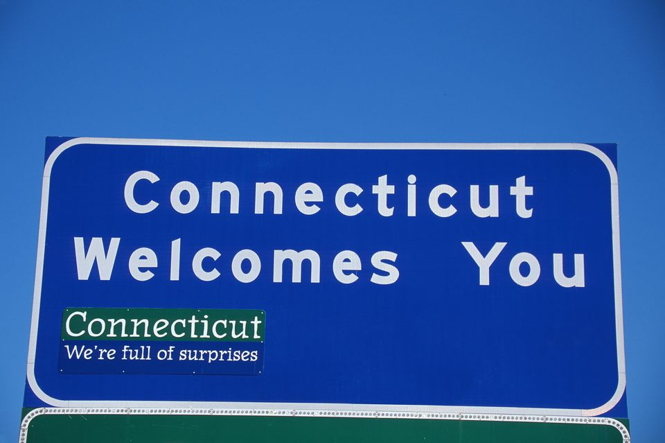 Connecticut Welcomes You highway sign