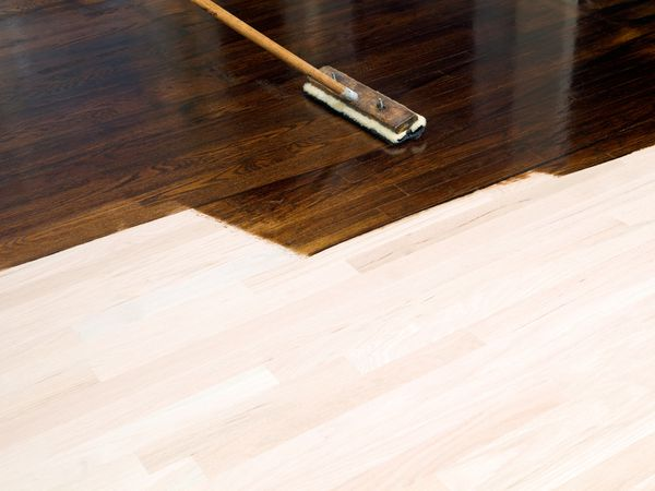 Stain on unfinished hardwood floor