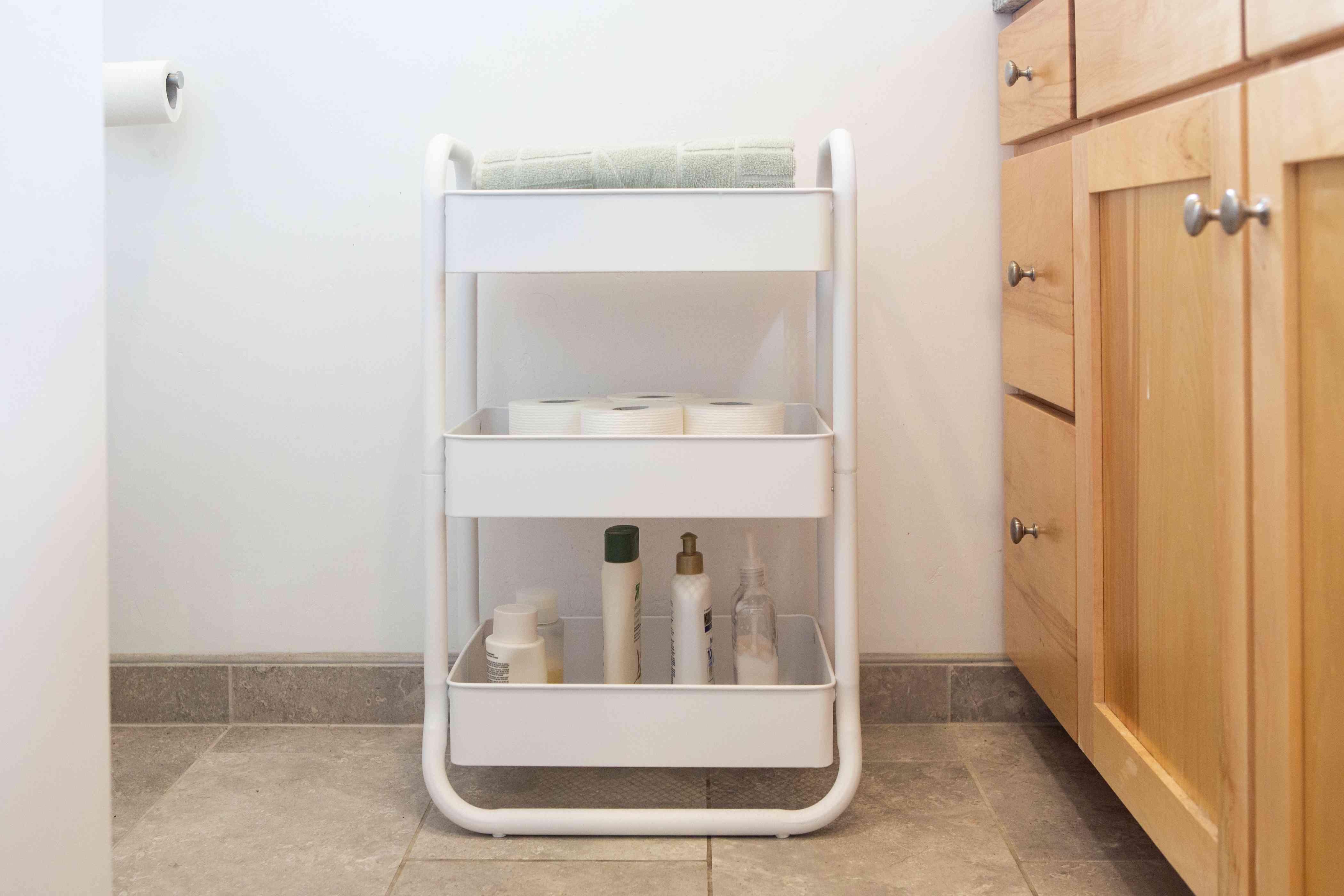 tiered bathroom cart