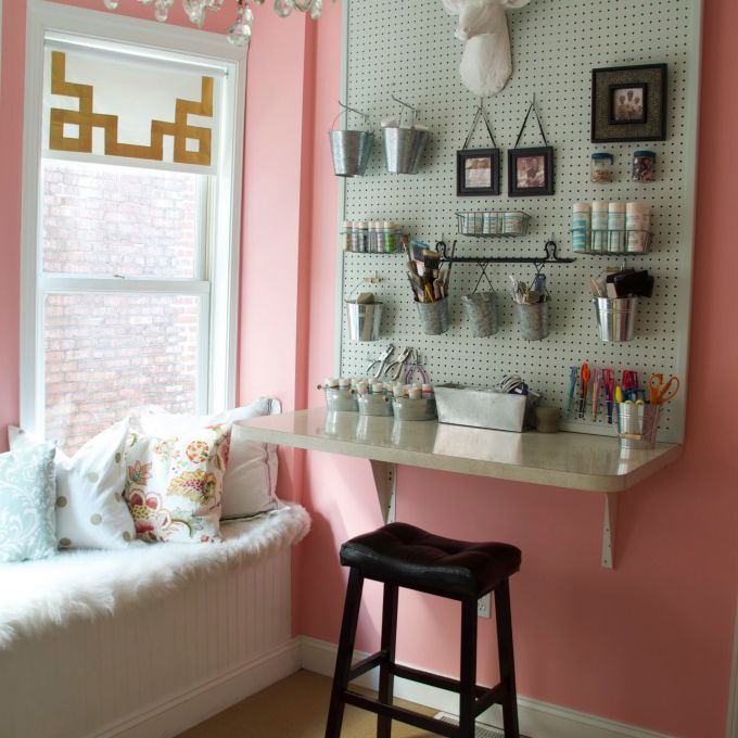 Sherwin Williams hopeful craft room, via Home Stories A to Z.