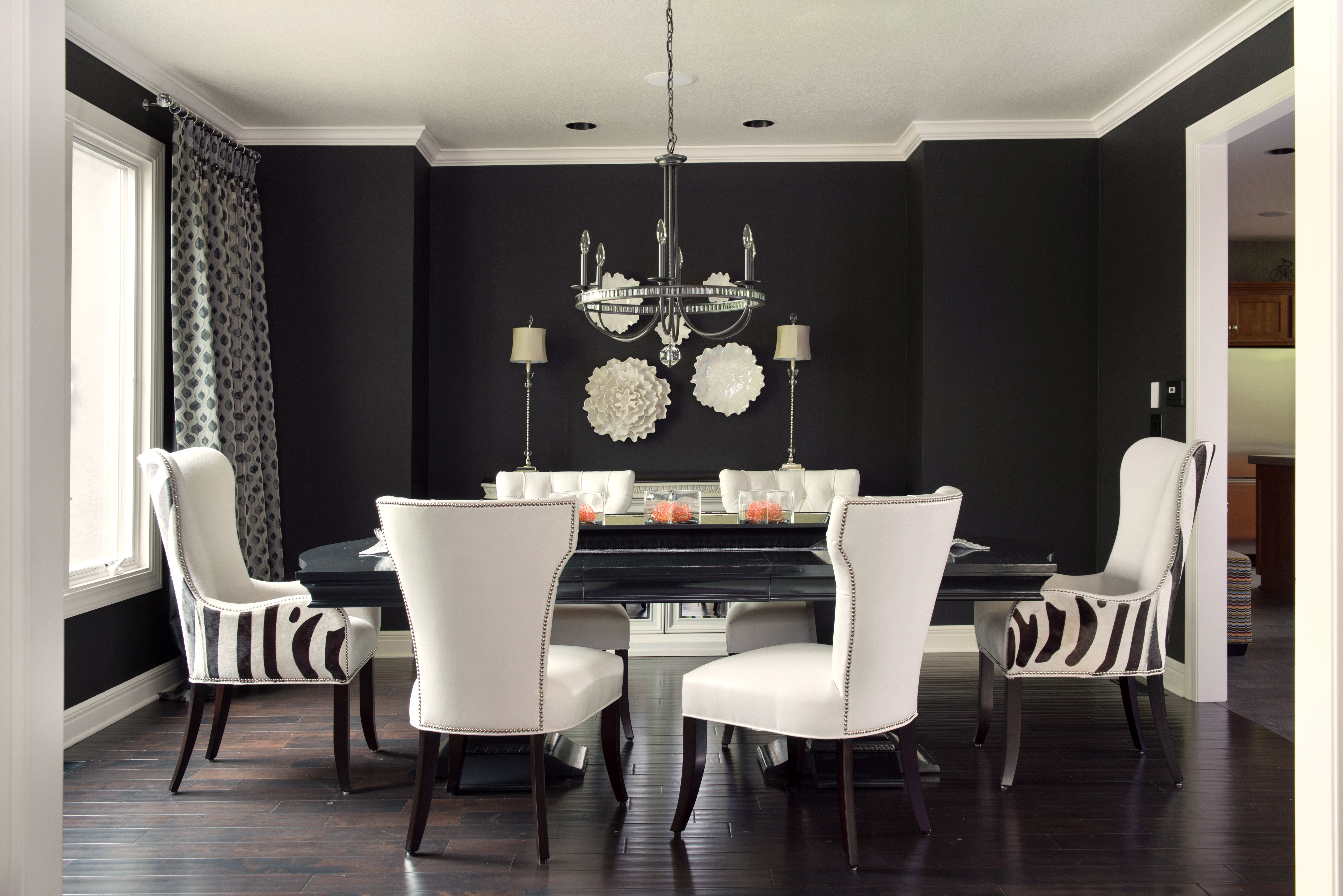 cream and black dining room